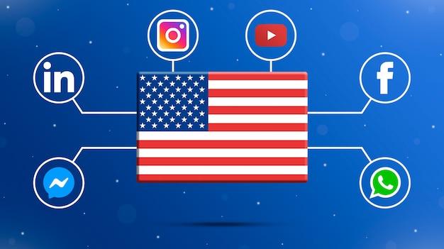 Drapeau des etats-unis avec des logos de médias sociaux 3d