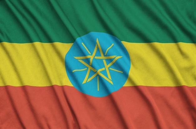 Drapeau d'ethiopie avec de nombreux plis.