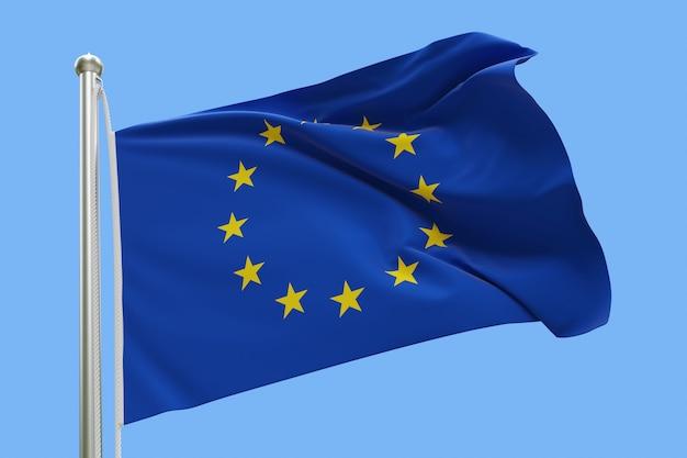 Drapeau de l'europe sur mât ondulant dans le vent. isolé sur bleu ciel