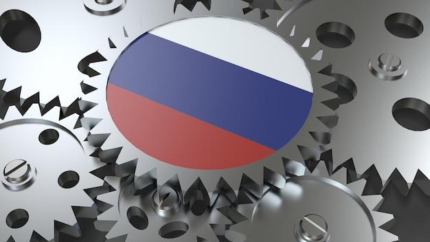 Drapeau de la fédération de russie avec engrenages