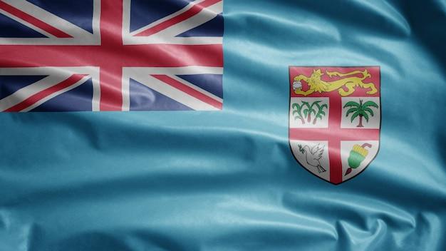 Drapeau fidjien flottant dans le vent. close up of fiji banner soufflant, soie douce et lisse