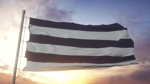 Drapeau de fierté droite agitant dans le fond du vent, du ciel et du soleil. rendu 3d