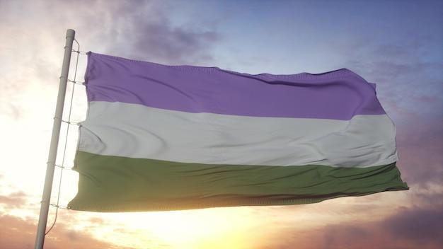 Drapeau de fierté genderqueer agitant dans le fond du vent, du ciel et du soleil. rendu 3d.