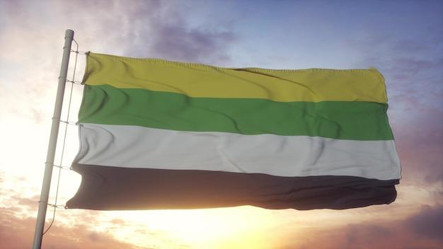 Drapeau de la fierté skoliosexuelle dans le fond du vent, du ciel et du soleil. rendu 3d.