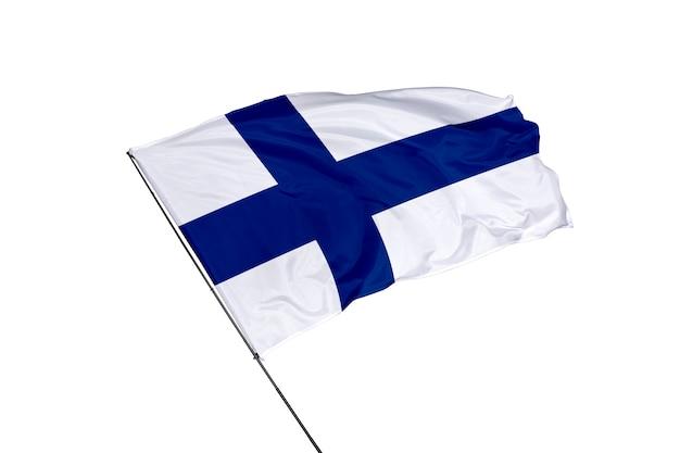 Drapeau de la finlande sur fond blanc