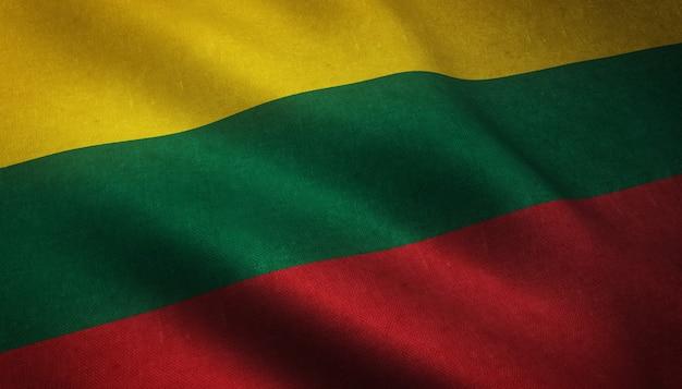Le drapeau flottant de la lituanie