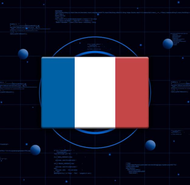 Drapeau de la france avec des éléments technologiques réalistes, rendu 3d