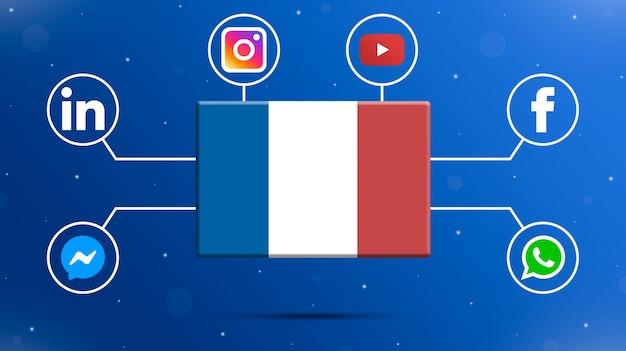 Drapeau de la france avec des logos de médias sociaux 3d