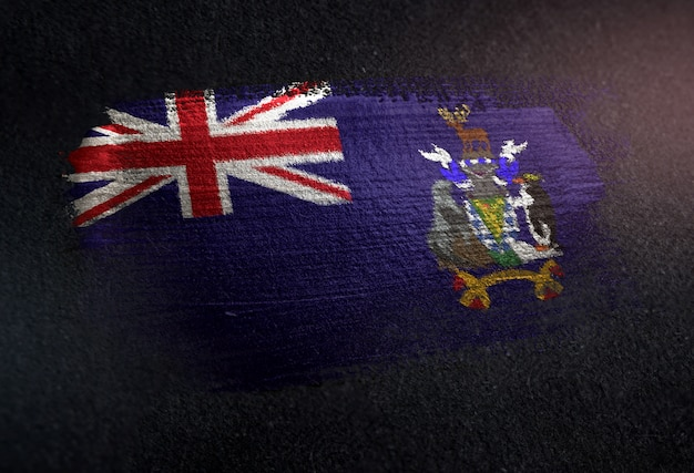Drapeau de la géorgie du sud et des îles sandwich du sud en peinture brossée métallique