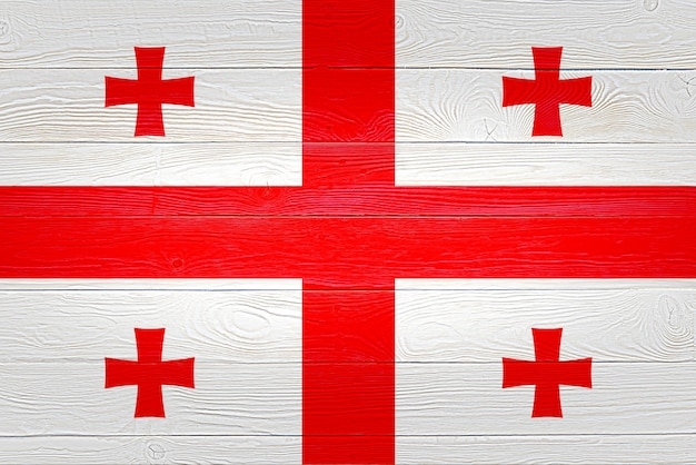 Drapeau de la géorgie peint sur des planches de bois