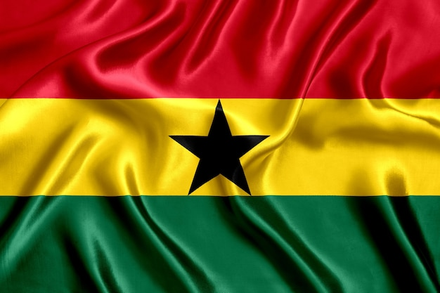 Drapeau, de, ghanéen, soie, gros plan, fond