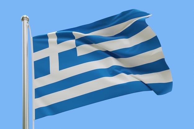 Drapeau de la grèce sur mât ondulant dans le vent isolé sur fond bleu