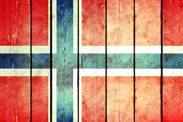 Drapeau grunge en bois de norvège.