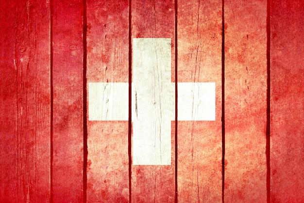 Drapeau grunge en bois de suisse.