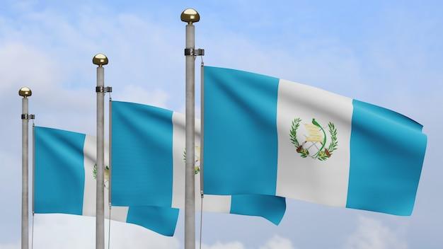 Drapeau guatémaltèque en 3d sur le vent avec ciel bleu et nuages. gros plan sur la bannière du guatemala soufflant, soie douce et lisse. fond d'enseigne de texture de tissu de tissu.