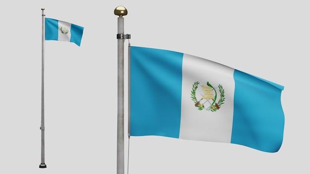 Drapeau guatémaltèque en 3d sur le vent. gros plan sur la bannière du guatemala soufflant, soie douce et lisse. fond d'enseigne de texture de tissu de tissu. utilisez-le pour le concept d'occasions de fête nationale et de pays.
