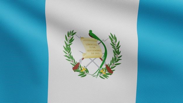 Drapeau guatémaltèque en 3d sur le vent. gros plan sur la bannière du guatemala soufflant, soie douce et lisse. fond d'enseigne de texture de tissu de tissu.