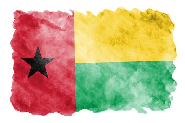 Drapeau de la guinée bissau est représenté dans un style aquarelle liquide isolé sur blanc
