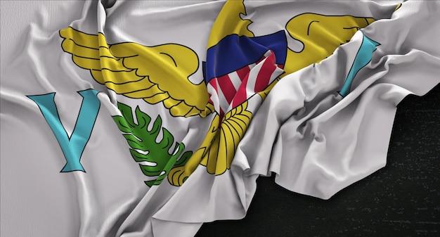 Drapeau des îles vierges américaines enroulé sur fond sombre 3d render