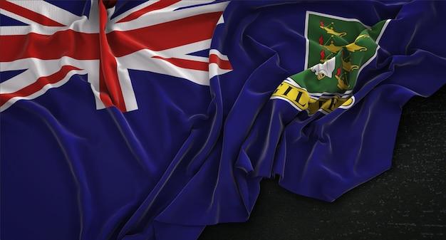 Drapeau des îles vierges britanniques enroulé sur fond sombre 3d render