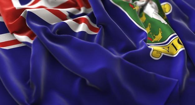 Drapeau des îles vierges britanniques ruffled beautifully waving macro gros plan