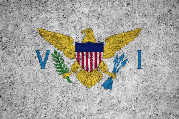 Drapeau des îles vierges des états-unis peint sur le mur de grunge