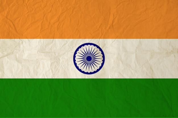 Drapeau de l'inde avec du vieux papier vintage