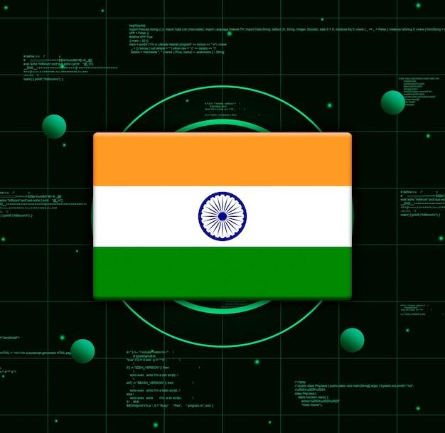 Drapeau de l'inde avec des éléments technologiques réalistes, rendu 3d