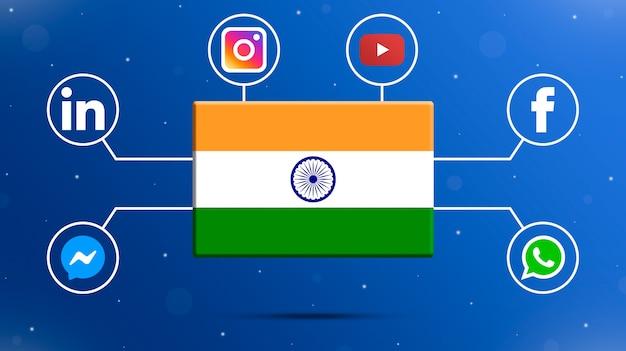 Drapeau de l'inde avec des logos de médias sociaux 3d