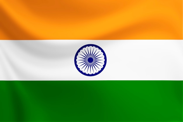 Drapeau indien, agitant, sur, texture, tissu