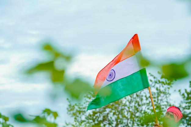 Drapeau indien au champ de l'agriculture