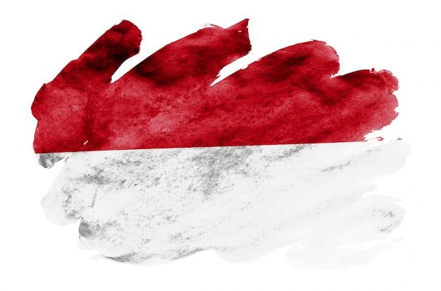 Le drapeau de l'indonésie est représenté dans un style aquarelle liquide isolé sur blanc