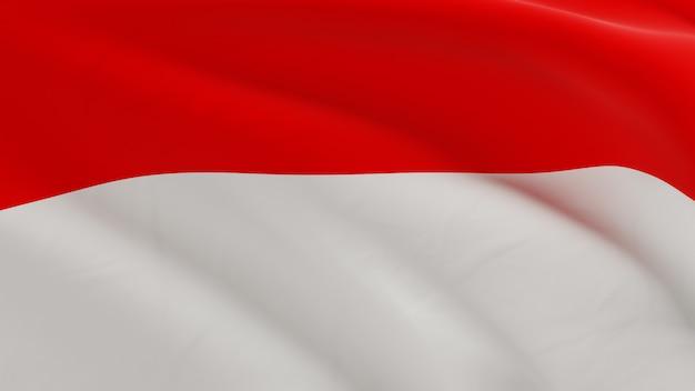 Drapeau de l'indonésie ondulant dans le vent, micro texture de tissu en rendu 3d de qualité