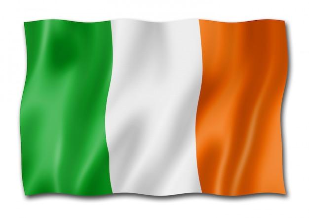 Drapeau irlandais isolé sur blanc