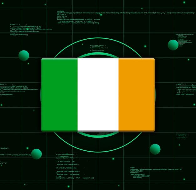 Drapeau de l'irlande avec des éléments technologiques réalistes, rendu 3d
