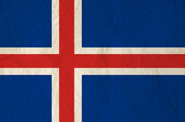 Drapeau de l'islande avec du vieux papier vintage