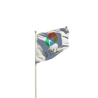 Drapeau isolé de corée du sud gyeongsang sur blanc. illustration 3d