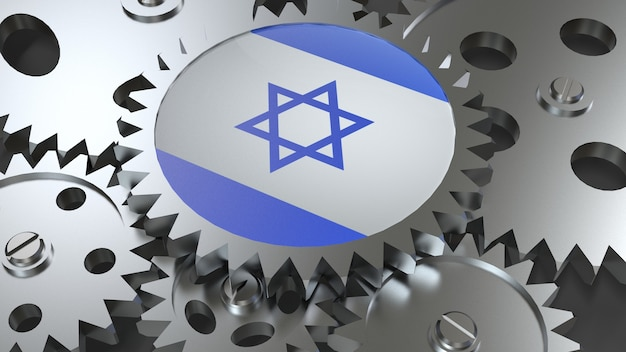 Drapeau d'israël avec des engrenages