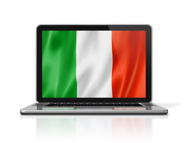Drapeau de l'italie sur écran d'ordinateur portable isolé sur blanc. rendu d'illustration 3d.