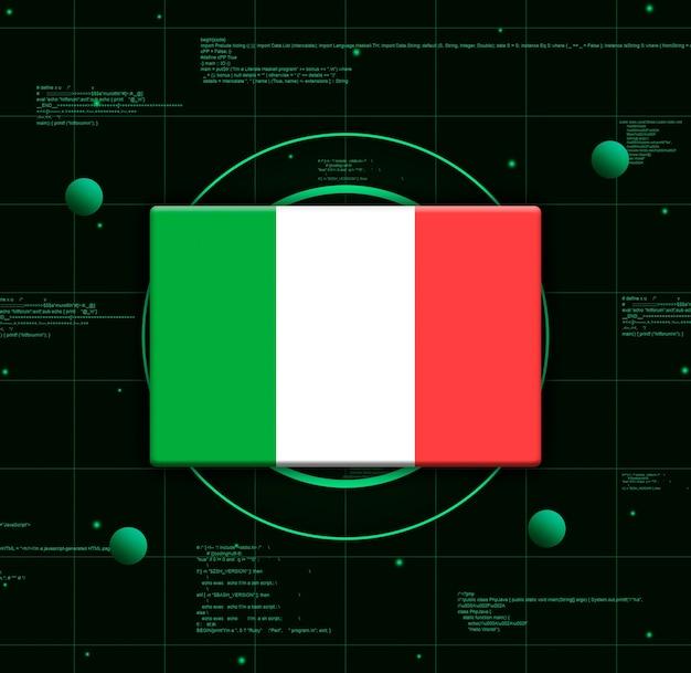 Drapeau de l'italie avec des éléments technologiques réalistes, rendu 3d