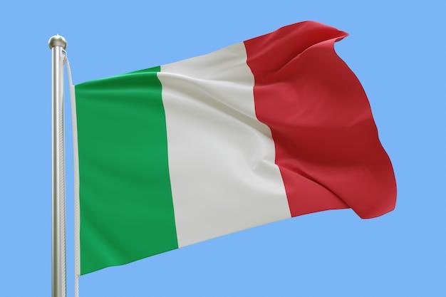 Drapeau de l'italie sur mât ondulant dans le vent isolé sur fond bleu