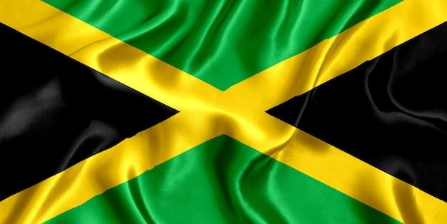 Drapeau, de, jamaïque, soie, gros plan, fond