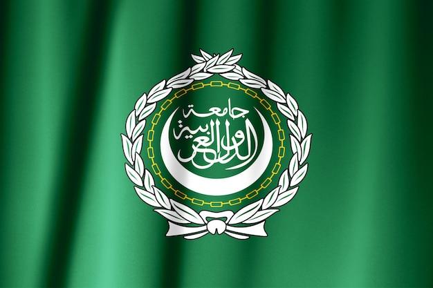 Drapeau de la ligue arabe sur le vent.
