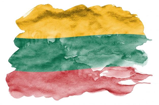 Le drapeau de la lituanie est représenté dans un style aquarelle liquide isolé sur blanc