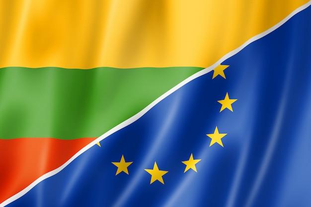 Drapeau lituanie et europe