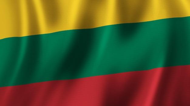 Drapeau de la lituanie en gros plan le rendu 3d avec une image de haute qualité avec une texture de tissu