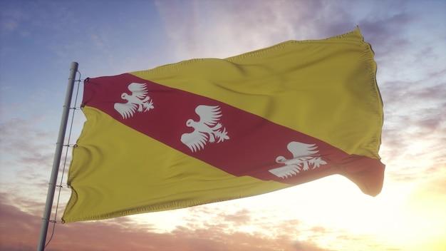 Drapeau lorraine, france, ondulant dans le vent, le ciel et le soleil. rendu 3d