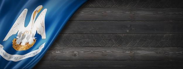 Drapeau de la louisiane sur la bannière murale en bois noir, usa. illustration 3d
