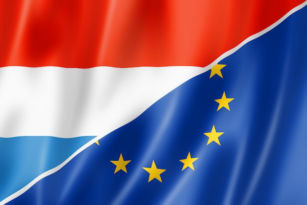 Drapeau luxembourg et europe