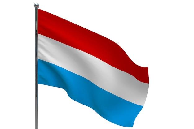 Drapeau luxembourgeois sur poteau. mât de drapeau en métal. drapeau national du luxembourg illustration 3d sur blanc